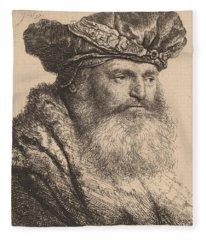 Bearded Man In A Velvet Cap With A Jewel Clasp Fleece Blanket
