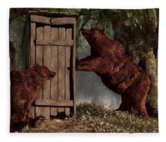 Bears Around The Outhouse Fleece Blanket