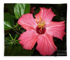 Beautiful Hibiscus Fleece Blanket