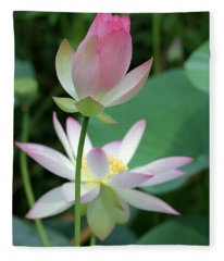 Beautiful Lotus Blooming Fleece Blanket