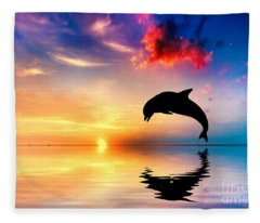Beautiful Ocean And Sunset With Dolphin Jumping Fleece Blanket