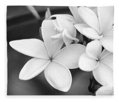 Beautiful Plumeria In Black And White Fleece Blanket