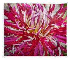 Beautiful Texturized Red Spider Dahlia Flower Macro Fleece Blanket