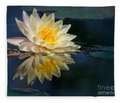 Beautiful Water Lily Reflection Fleece Blanket