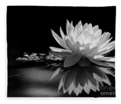 Beautiful Water Lily Reflections Fleece Blanket