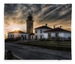 Beavertail Lighthouse Sunset Fleece Blanket