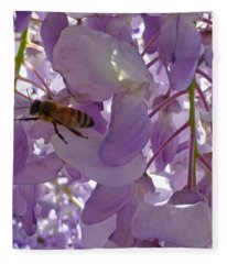 Bee In Wisteria Fleece Blanket