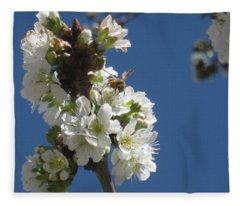 Bee On Cherry Blossoms Fleece Blanket
