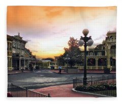 Before The Gates Open Magic Kingdom Walt Disney World Fleece Blanket