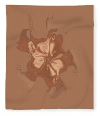 Beige Satin Morning Glory Fleece Blanket