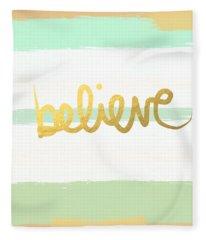 Believe In Mint And Gold Fleece Blanket