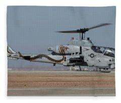 Bell-boeing Ah-1w Cobra Buno 165369 Naf El Centro February 19 2015 Fleece Blanket