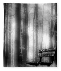 Bench In Michigan Woods Fleece Blanket