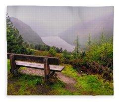 Bench Over The Upper Lake. Glendalough. Ireland Fleece Blanket
