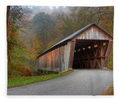 Bennett Mill Covered Bridge Fleece Blanket