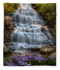 Benton Falls In Spring Fleece Blanket