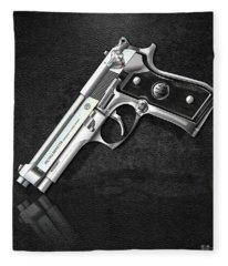 Beretta 92fs Inox Over Black Leather Fleece Blanket