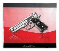 Beretta 92fs Inox Over Red And Black Fleece Blanket