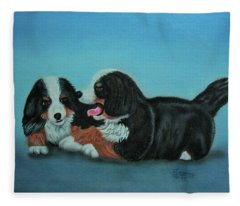 Bernese Mountain Puppies Fleece Blanket