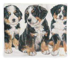 Bernese Mountain Dog Puppies Fleece Blanket