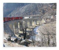 Bernina Express In Winter Fleece Blanket