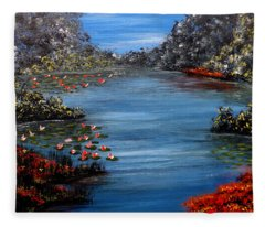 Beyond The Bridge At Lily Pond Fleece Blanket