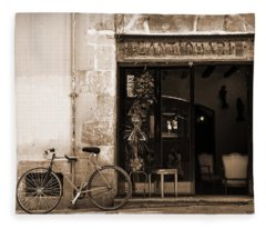 Bicycle And Reflections At L'antiquari Bar  Fleece Blanket