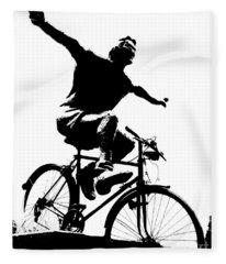 Bicycle - Black And White Pixels Fleece Blanket