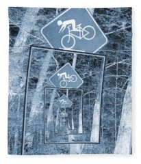 Bicycle Caution Traffic Sign Fleece Blanket