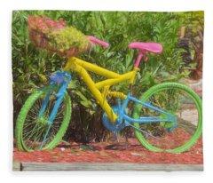 Bicycle Of Colors Fleece Blanket