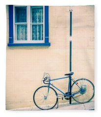 Bicycle On The Streets Of Old Quebec City Fleece Blanket