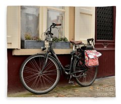 Bicycle With Baby Seat At Doorway Bruges Belgium Fleece Blanket