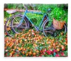 Bicycles In The Garden Fleece Blanket