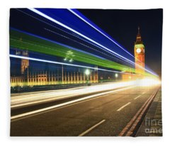 Big Ben And A Bus Fleece Blanket