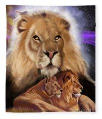 Third In The Big Cat Series - Lion Fleece Blanket