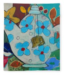 Big Floral Tea Pot Fleece Blanket