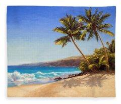 Hawaiian Beach Seascape - Big Island Getaway  Fleece Blanket
