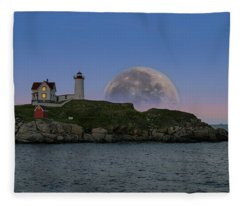 Big Moon Over Nubble Lighthouse Fleece Blanket
