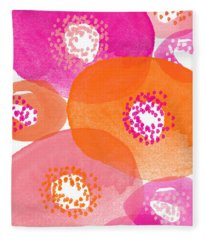 Big Spring Flowers- Contemporary Watercolor Painting Fleece Blanket