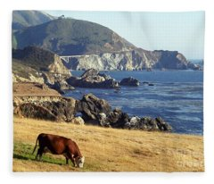 Big Sur Cow Fleece Blanket