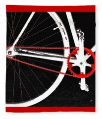 Bike In Black White And Red No 2 Fleece Blanket