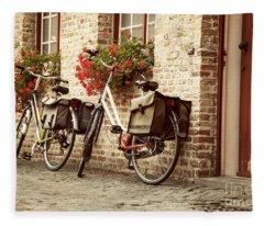 Bikes In The School Yard Fleece Blanket