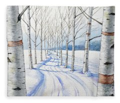 Birch Trees Along The Curvy Road Fleece Blanket