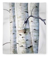 Birch Trees In Watercolor Fleece Blanket