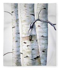 Birch Trees In Watercolor Fleece Blanket