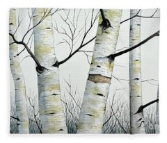 Birch Trees In The Forest In Watercolor Fleece Blanket