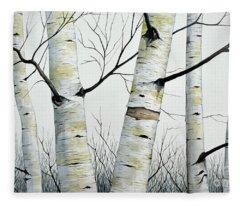 Birch Trees In The Forest In Watercolor Fleece Blanket
