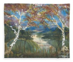 Birch Trees On The Ridge  Fleece Blanket
