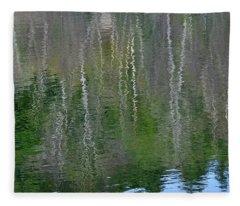 Birch Trees Reflected In Pond Fleece Blanket