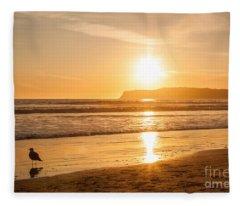Bird And His Sunset Fleece Blanket